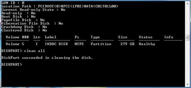 erase هارد دیسک با ویندوز