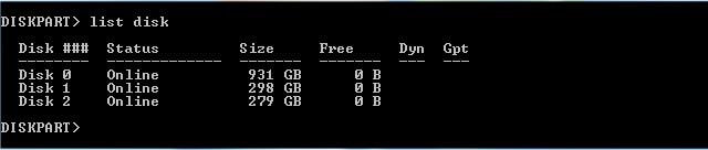 دستور list disk برای انتخاب هارد دیسک