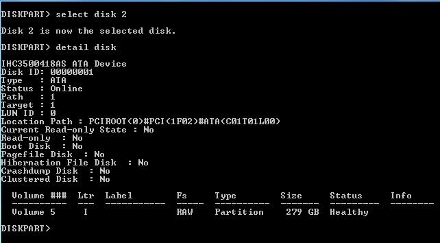 دستور select disk برای انتخاب هارد دیسک